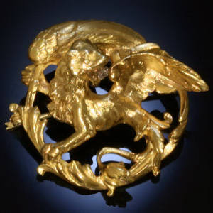 Victorian golden griffin brooch pendant